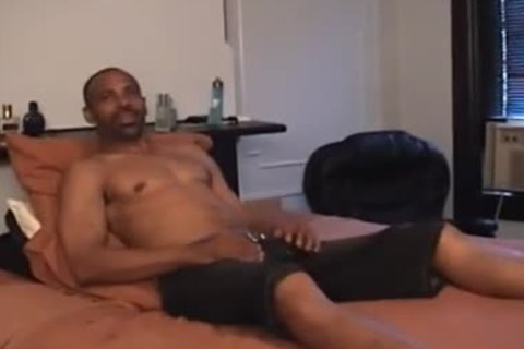 Super wet black Daddy disrobes Off And Jerks His Monster black penis