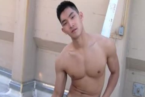 oriental Chinese handsome lad stroking
