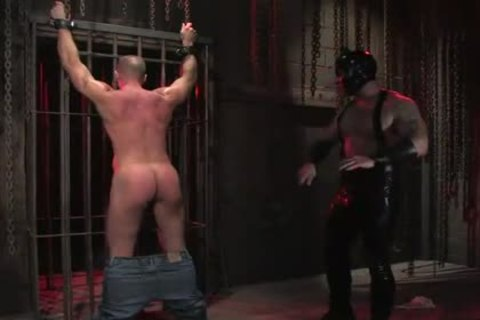 sadomasochism homosexual In Metal Restraints butthole banged