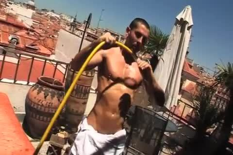 Spanish beauty Strokes His 10-Pounder outside