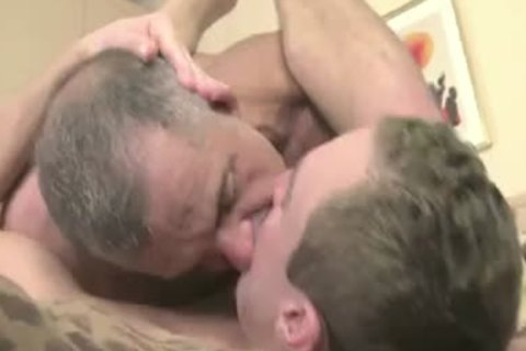 Grey Mustache Daddy Makes His lad Moan