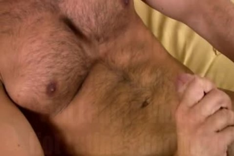 large Burly Chest bed Masturbation!