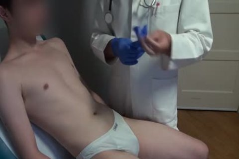 slim Japanese chap Examined, bald And Deflowered On The Doctors Examination Table. enormous cum flow.