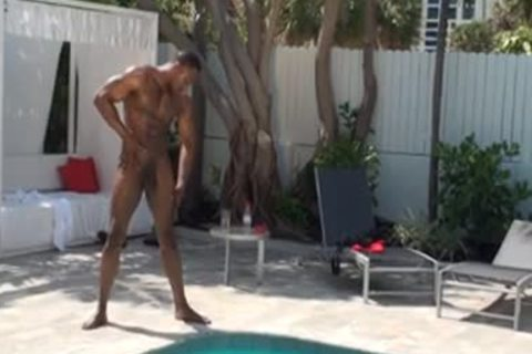 str8 dark boy Wanks By The Pool