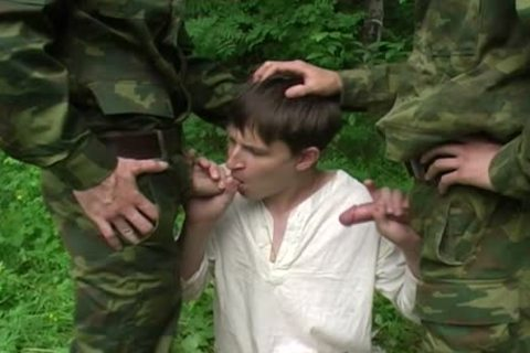 Two Military males receive oral sex-stimulation From A young legal age teenager