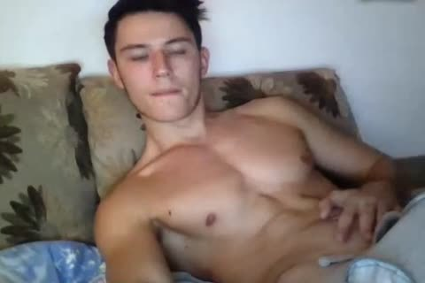 fashionable brawny gay lad Cums All Over His Hard Abs On web camera. filthy taut butthole.
