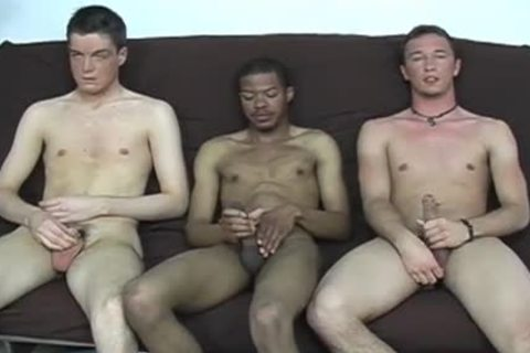 Interracial homo three-some engulfing & wanking