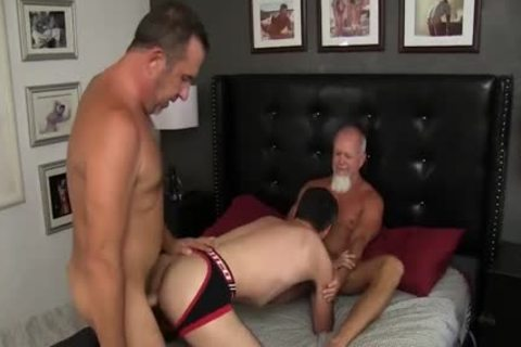 Some horny daddy males Have A homo Threeway fuck