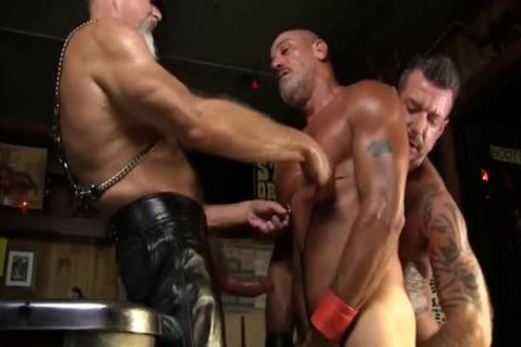 Leather Clad dudes plough Each Other On The Pool Table