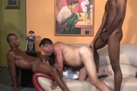 stupid White man sucking darksome cocks