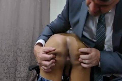 Watch This asian guy receive anal gangbanged In The Office