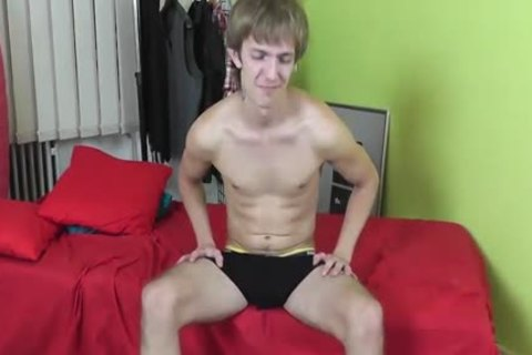 skinny chap Enjoys Stroking His humongous penis