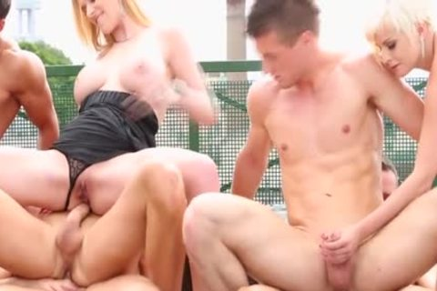 Steamy ambisexual orgy Outdoor