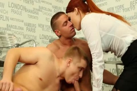 Redhead girl sucking dong For man Getting poked