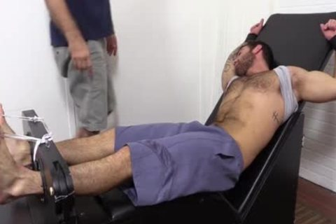 Flaming brunette hair Hunk fastened Up And Getting Foot Tortured For enjoyment HD dirt Taped - SpankBang
