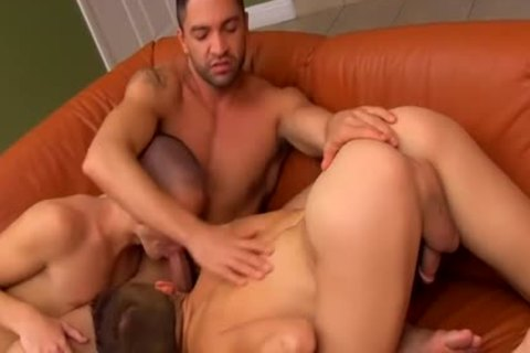 Muscled Hunk likes these Two hairless pretty petite booties And dildos them With fake penis