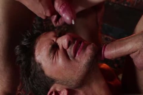 dirty gay threesome And Facial