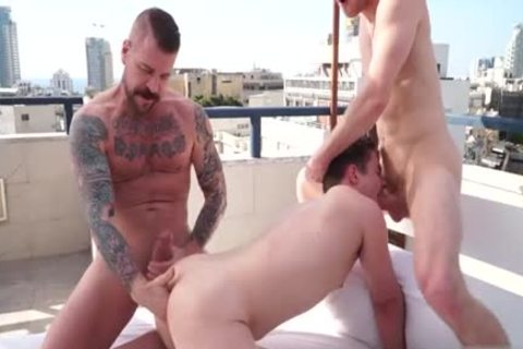 humongous penis gay 3some With Facial