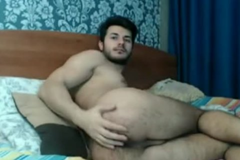 hairy ass man Playing On webcam