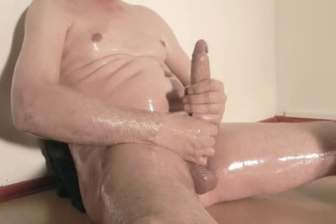 Robin Jerks His shaved Oiled Uncut Monstercock 156
