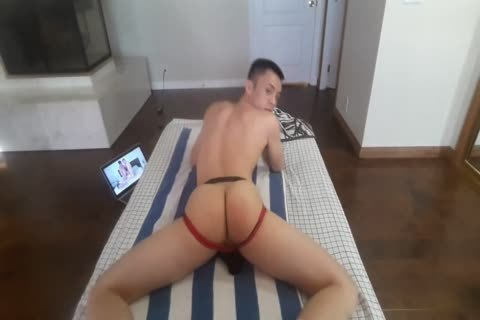 oriental twink In Jockstrap Plays With dildo And Cums