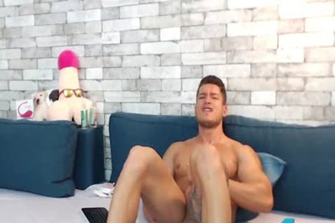 pumped up Euro Ethan Joy Cums With An OhMiBod Inside His taut wazoo