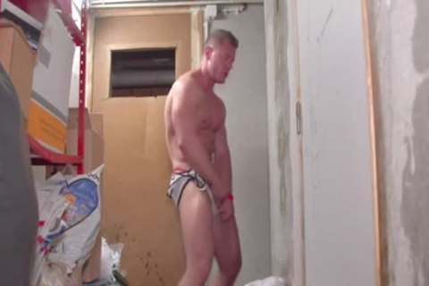 A tasty White brawny lad Stripping Dance