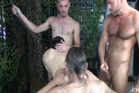 stunning bare Foursome group group-sex