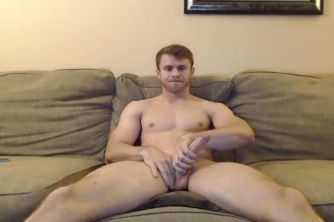 handsome guy Jerks His large White rod And Rides A large dildo