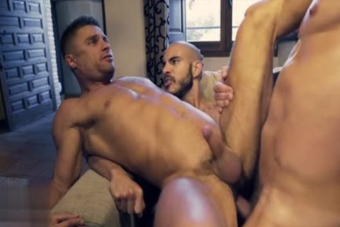 Muscle gay threesome And sex cream flow