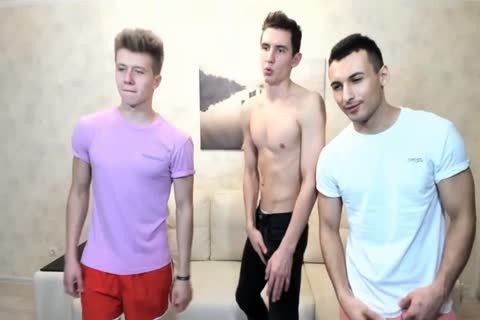 3 Russian fashionable guys With Great Round buttholes,nice knobs On web camera