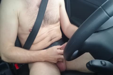 Jerking naked whilst Driving Car, wank Outdoor Near Road