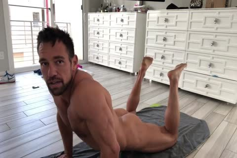 Muscle Hunk Stretching stripped