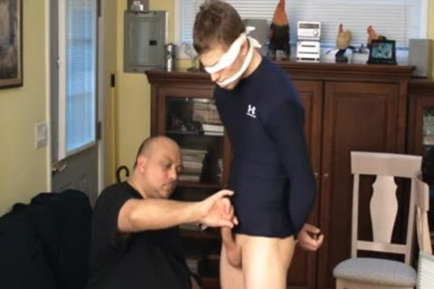 Straight Captive Lad, Fastened And Gagged, Made To ball sperm