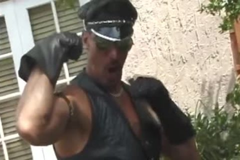 Leather Muscle dad stroking