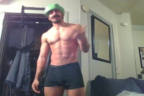 tasty str8 Hunk Disguised As Luigi Shows Off And Plays With A Fleshlight