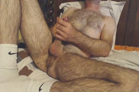 hairy daddy lad Shows Off His Rock Solid knob