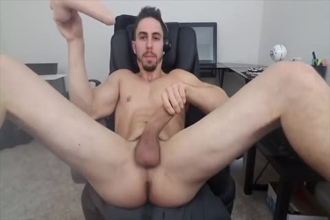 Stretching His hole With A fake penis