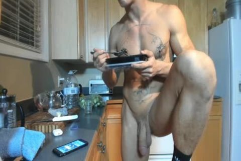 Hung pumped up man Showing Off In The Kitchen