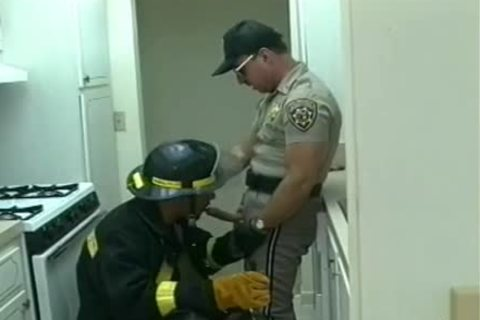 Police Office And Fireman Do naughty Things In The Kitchen