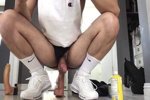pounding My Arab Otter hole With Two Monster Dildos Wearing White Gym Crew Socks