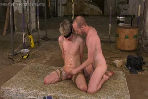 tied Up skinny twink gets penis Sucked And Jerked Off By corporalist