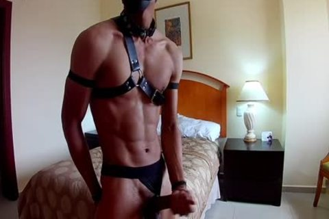 Latino Top Puppy twink Jerks And Cums Geared Up