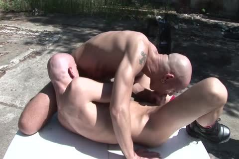Two Bald lewd males lick Each Other's pretty butthole