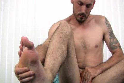naked Foot that man Strokes His Uncut cock Harder