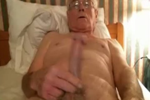 older man stroke On webcam