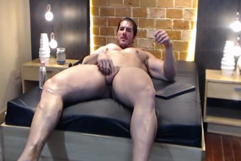 gigantic Latin Bodybuilder shoots A Load And Eats It!
