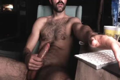 hirsute Chest man stroking His big dong And Shooting big Load Of sperm