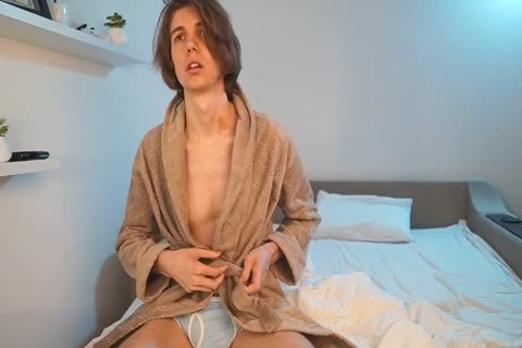 RUSSIAN attractive twink stroking AND sperm AFTER SHOWER IN bed