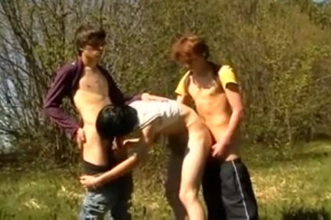 Outdoor On First Time 3some teens sucking unprotected nailing Jerking And Cumshots